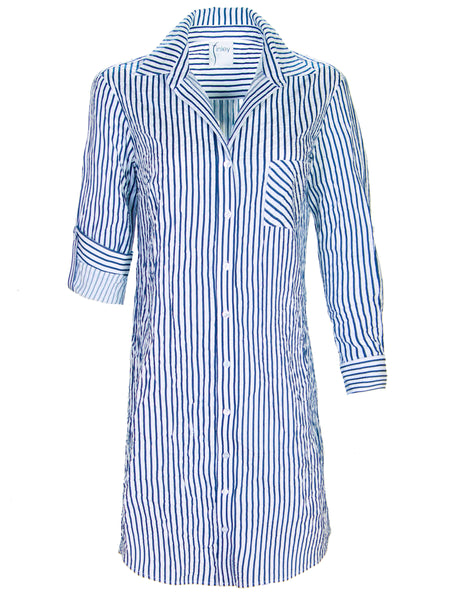 Alex Shirtdress Clear Blue/White Textured Stripe