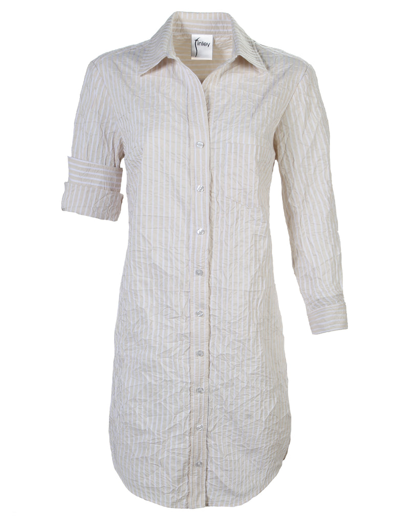 Alex Shirtdress Sand/White Textured Stripe
