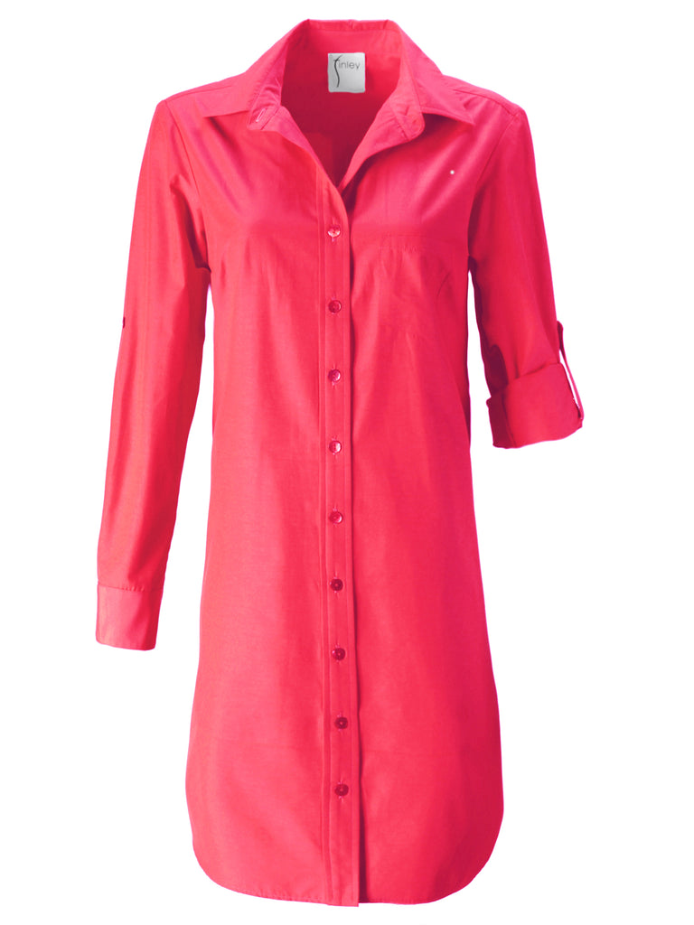 Alex Shirtdress Rouge Red Polished Cotton