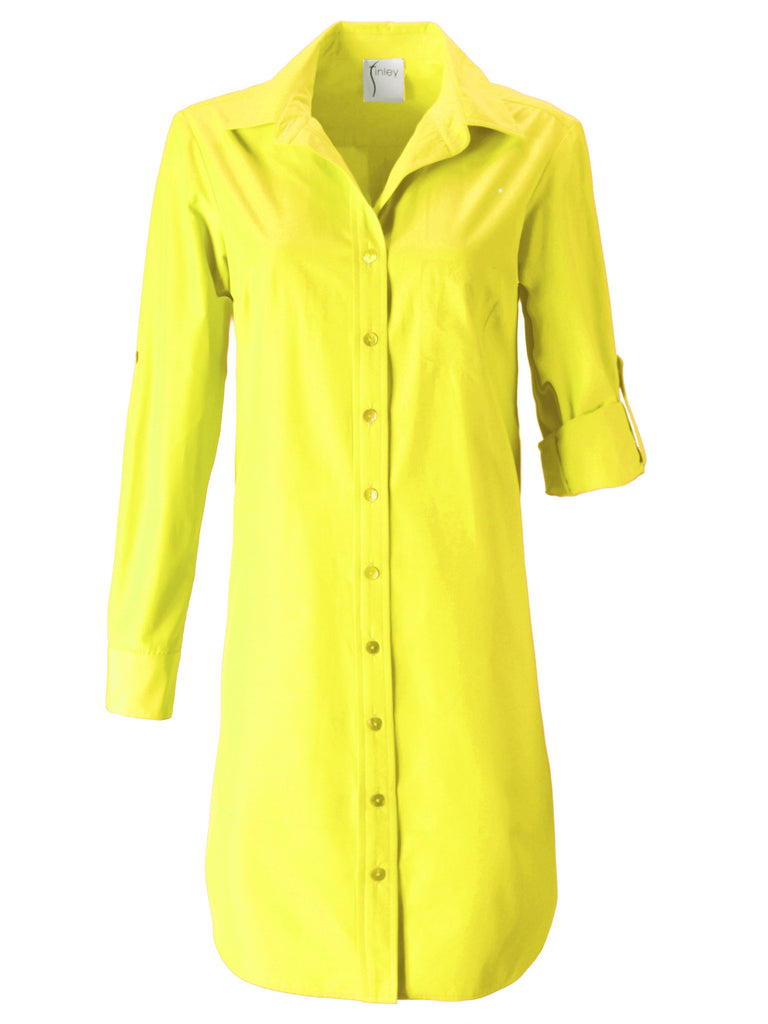 Alex Shirtdress Yellow Polished Cotton
