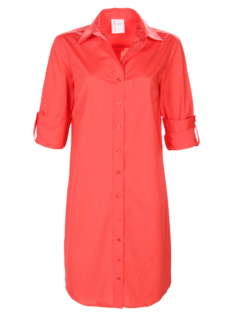 Alex Shirtdress Coral Polished Cotton