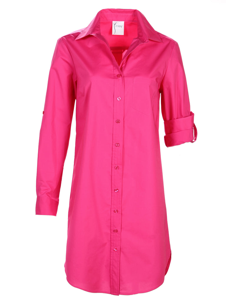 Alex Shirtdress Fuchsia Polished Cotton