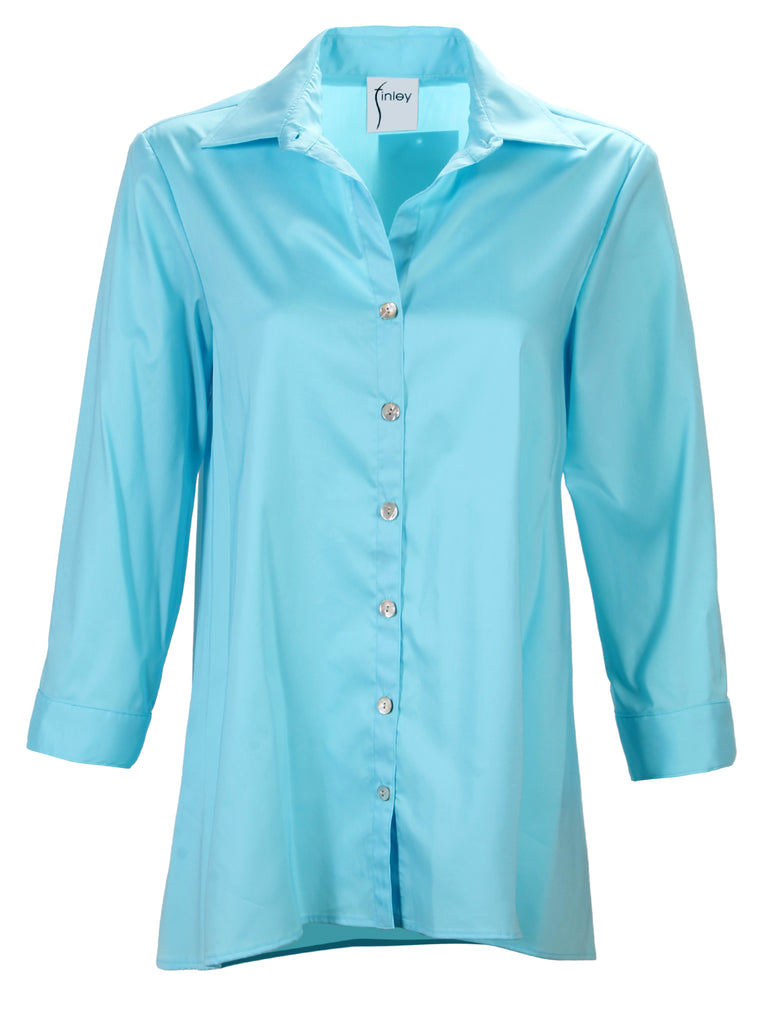 Trapeze 3/4 Sleeve Sateen Turquoise