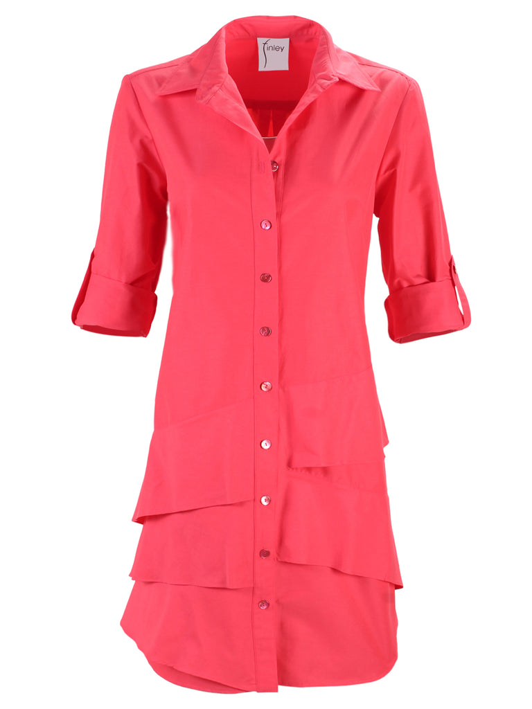 Jenna Dress Rouge Red Polished Cotton
