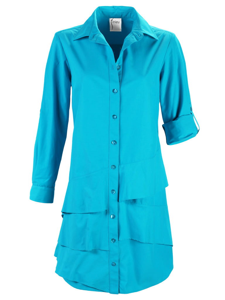 Jenna Dress Turquoise Polished Cotton