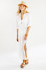 Washed Linen Long Alex Shirtdress White