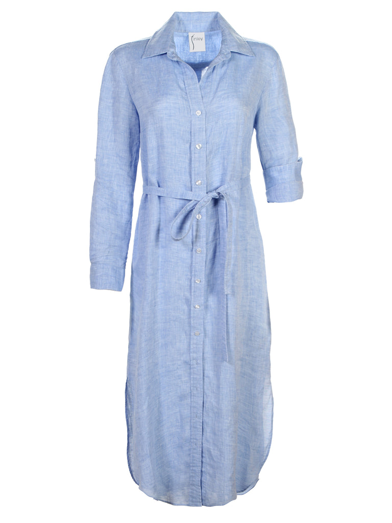 Washed Linen Long Alex Shirtdress Blue