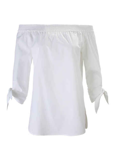 Jill Tie Sleeve Off-Shoulder White