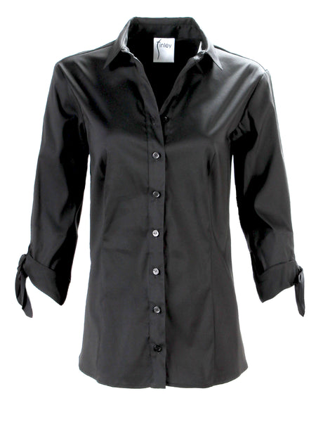 Jackie 3/4 Tie Sleeve Shirt Black