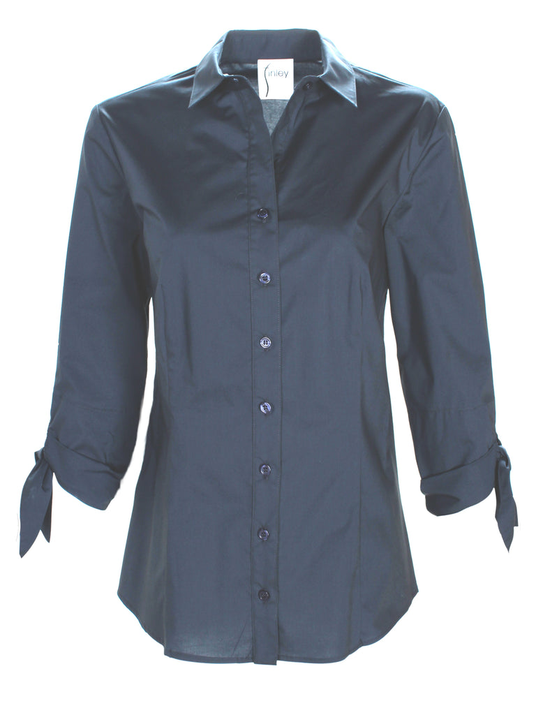 Jackie 3/4 Tie Sleeve Shirt Navy