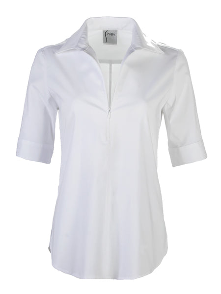 Endora Short Sleeve 1/2 Zip Shirt White