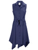 Sara Sashed Dress Navy Polished Cotton
