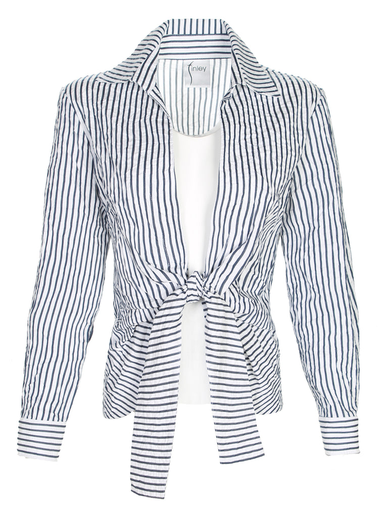Lacy Tie Front Shirt Spectator Stripe