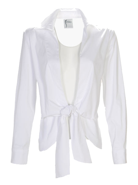 Lacy Tie Front Shirt White