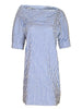 Skipper Dress Clear Blue/White Textured Stripe