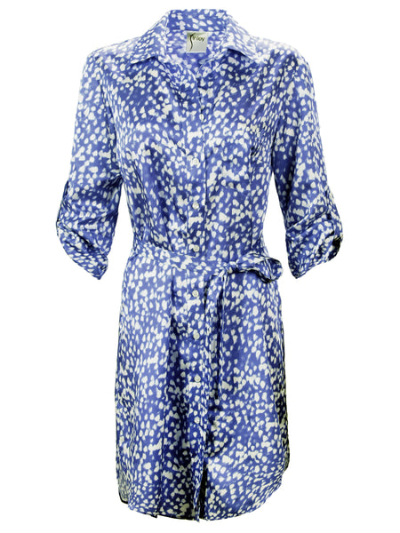 Alex Shirtdress With Self Belt Blue Raindrop Print