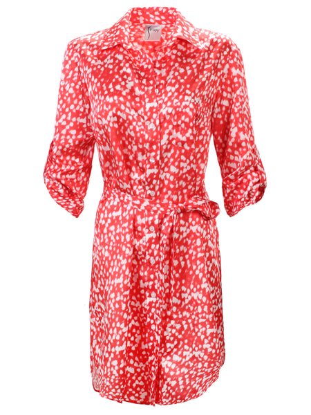 Alex Shirtdress With Self Belt Red Raindrop Print