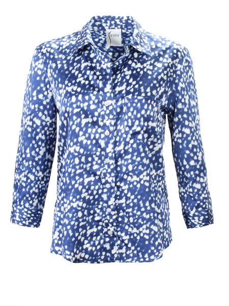 3/4 Sleeve Alex Shirt Blue Raindrop Print