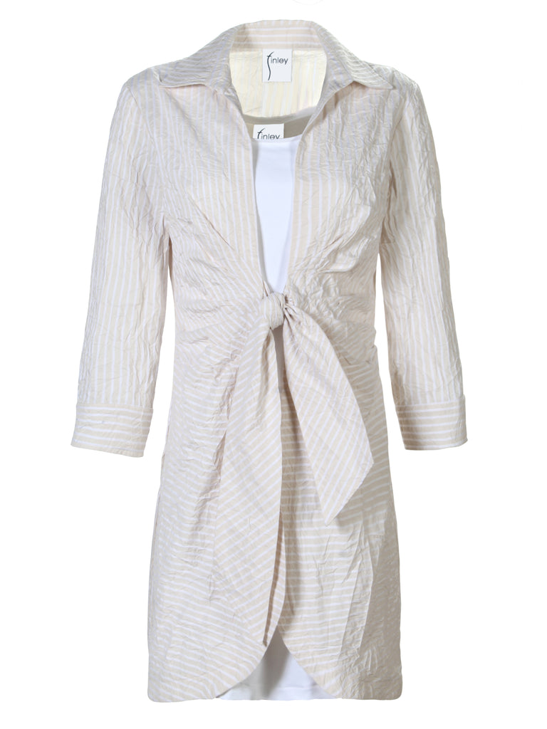 2 pc. Lacy Tie Front Shirtdress Sand/White Stripe