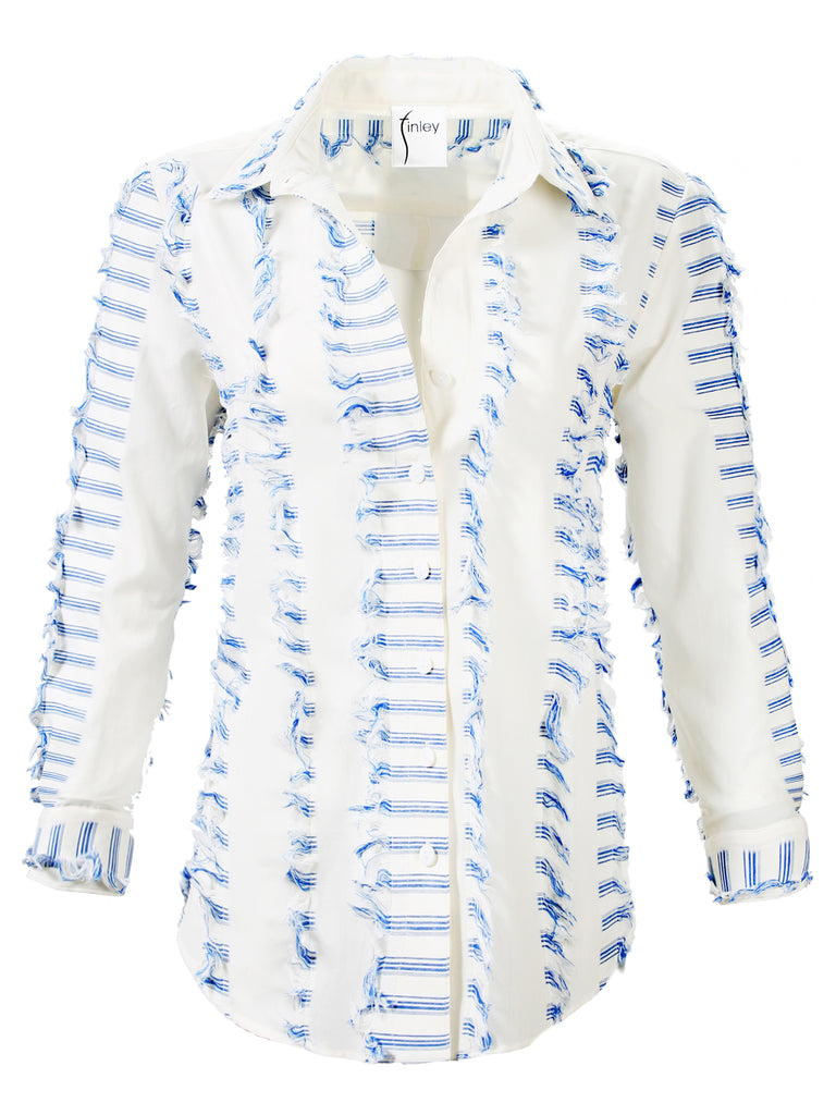 Boyfriend Shirt Eyelash Stripe Blue