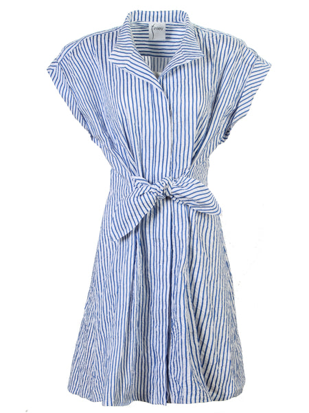 Rocky Dress Clear Blue/White Textured Stripe