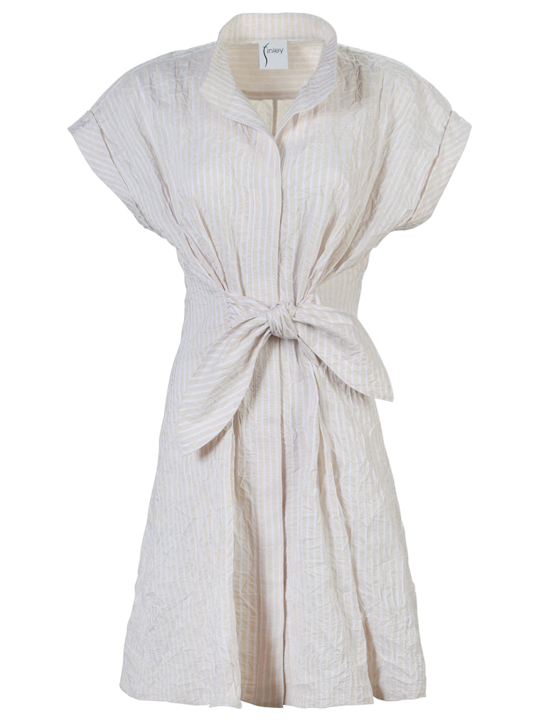 Rocky Dress Sand/White Textured Stripe