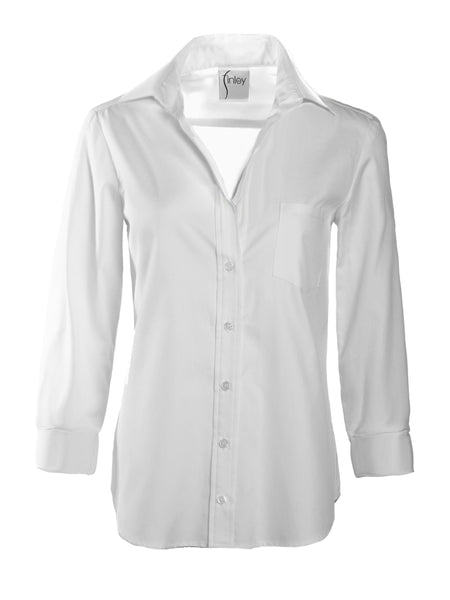 3/4 Sleeve Alex Shirt White Silky Poplin