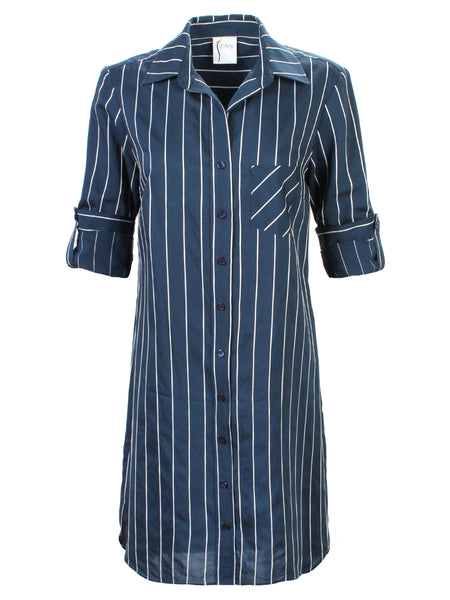 Alex Shirtdress Navy/White Stripe