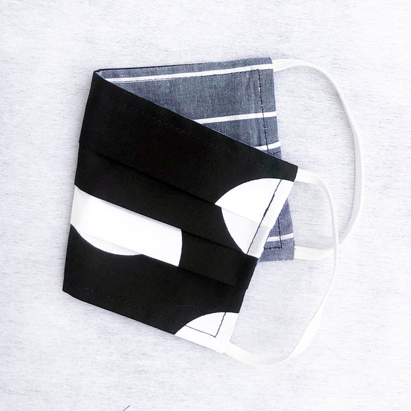 Pack of 3 Face Masks Black/White Dot - available now