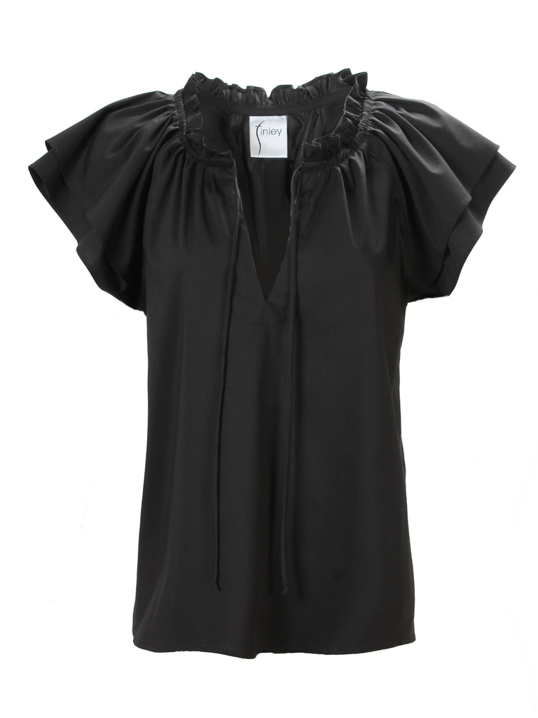 Cassie Ruffle Sleeve Top Black