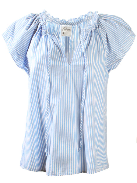 Cassie Ruffle Sleeve Top Washed Baby Blue Stripe