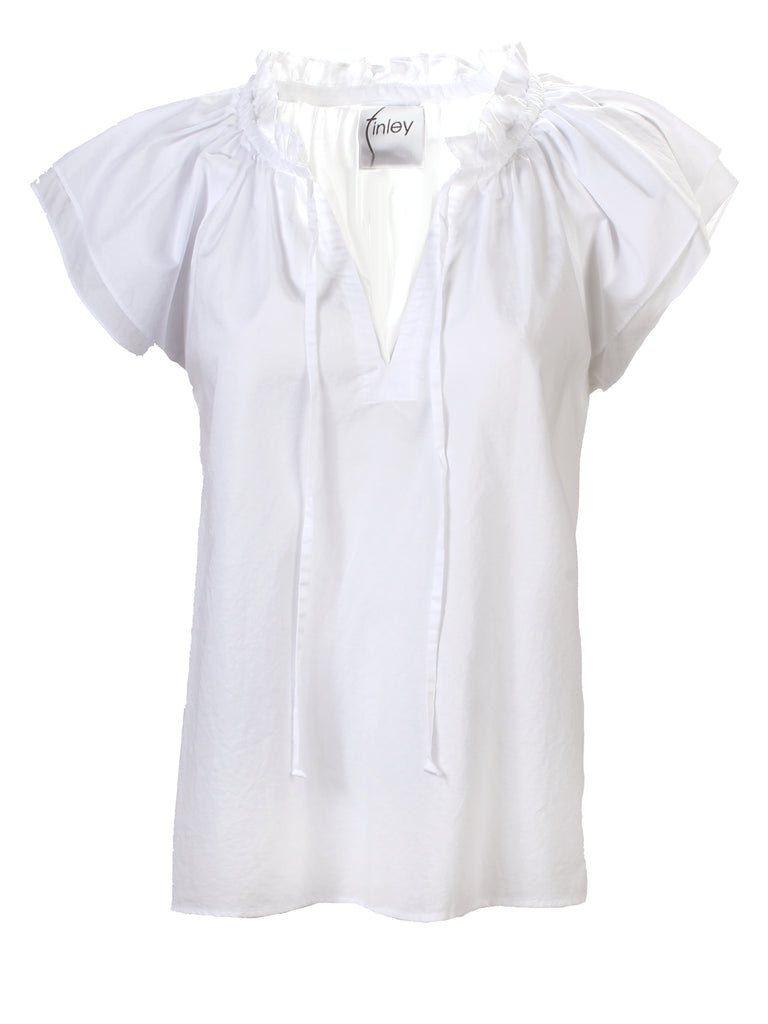 Cassie Ruffle Sleeve Top White Washed Cotton