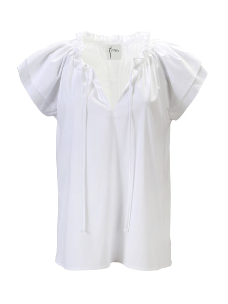 Cassie Ruffle Sleeve Top White