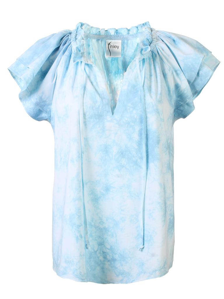 HAND DYED Cassie Ruffle Sleeve Top - Blue