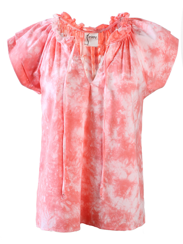 HAND DYED Cassie Ruffle Sleeve Top - Coral
