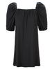 Channing Pleat Neck Dress Black Bamboo Knit