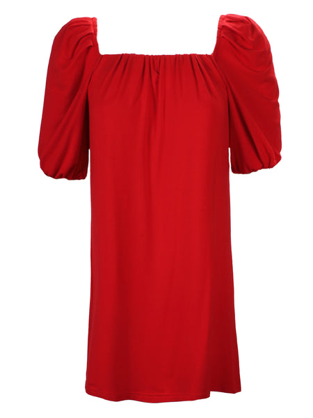 Channing Pleat Neck Dress Red Bamboo Knit