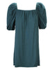 Channing Pleat Neck Dress Teal Bamboo Knit