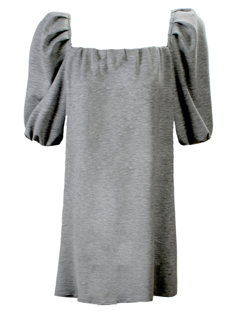 Channing Pleat Neck Dress Light Grey Bamboo Terry