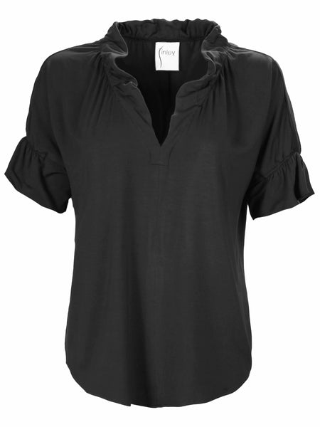 Crosby Top Black Bamboo Terry