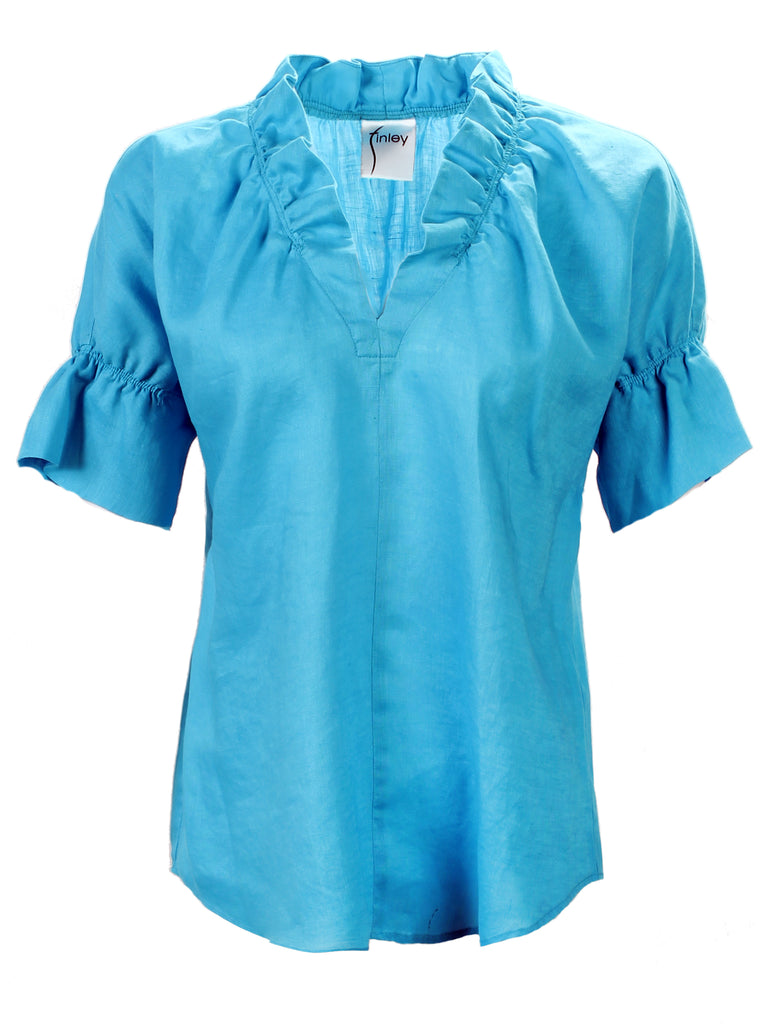 Crosby Shirt Turquoise Linen
