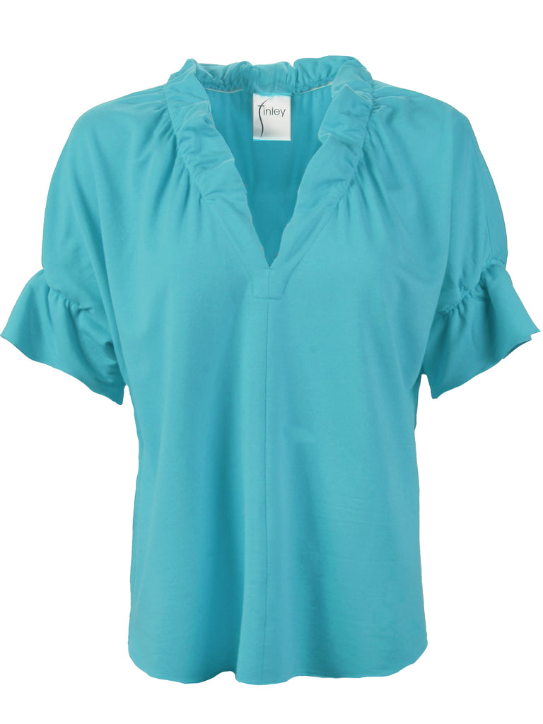 Crosby Top Turquoise Bamboo Knit