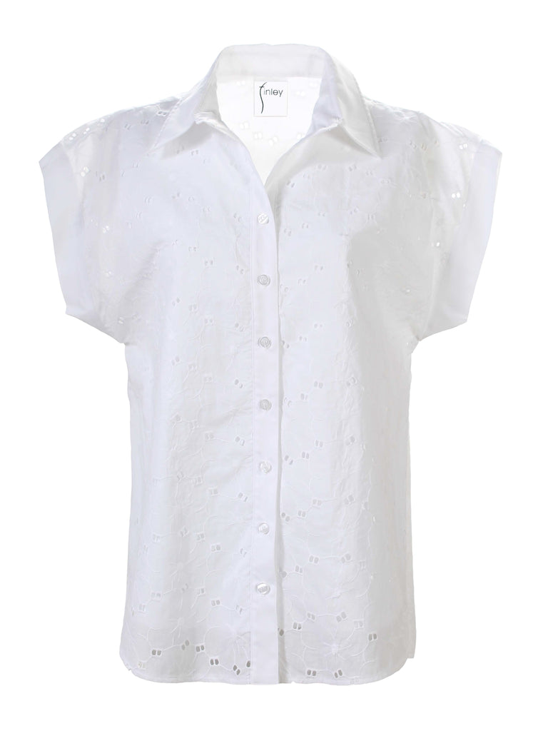 Dolman Camp Shirt White Daisy Eyelet
