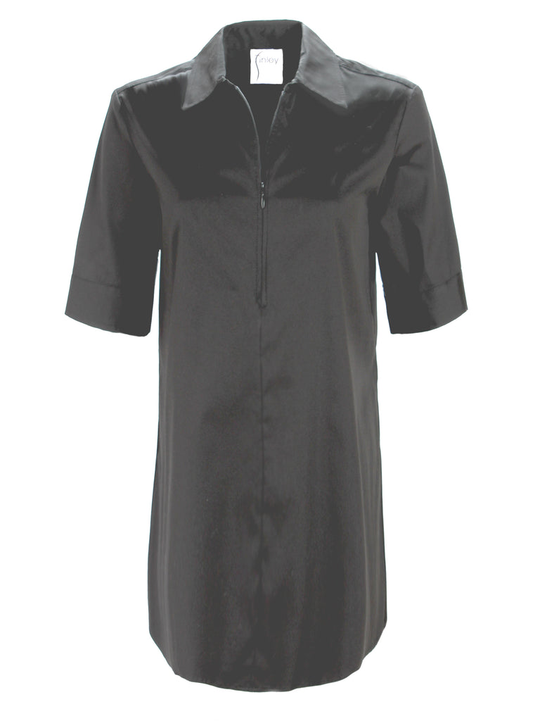 Endora Short Sleeve 1/2 Zip Dress Black
