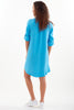 Washed Linen Jenna Dress Caribbean Blue