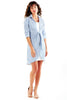 2 pc. Lacy Tie Front Shirtdress Clear Blue/White Stripe