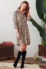 Alex Shirtdress With Self Belt Natural Leo Print