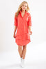 Jenna Dress Coral Polished Cotton