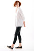 Jody Trapeze Top 3/4 sleeve White w/ Black Piping