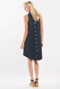 Swing Dress Navy Polished Cotton